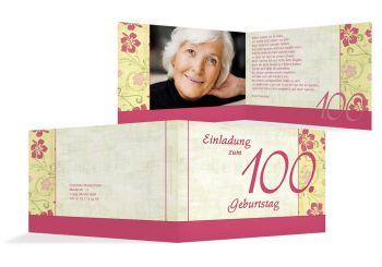 Einladungskarten 100 geburtstag einladung selbst gestalten - Ideen 90 geburtstag ...