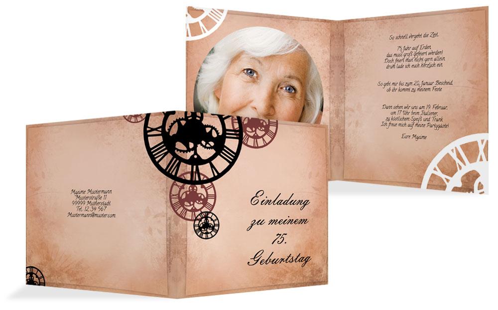 einladung zum 75. geburtstag (einladungskarten drucken), Einladung