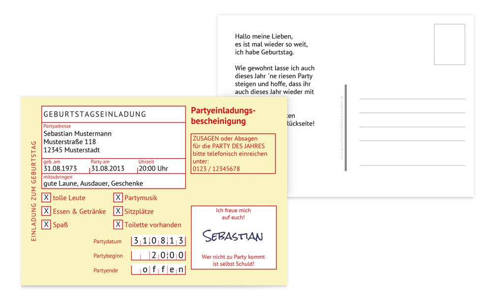 geburtstagseinladungskarten erwachsene gestalten & drucken, Einladungsentwurf