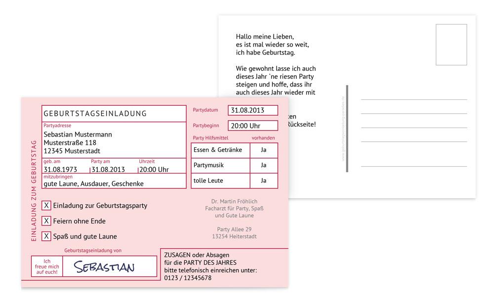 geburtstagseinladungskarten erwachsene gestalten & drucken, Einladung
