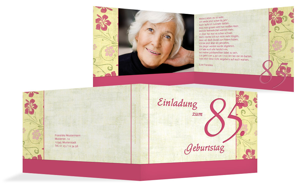 einladung zum 85 geburtstag einladungskarten drucken. Black Bedroom Furniture Sets. Home Design Ideas