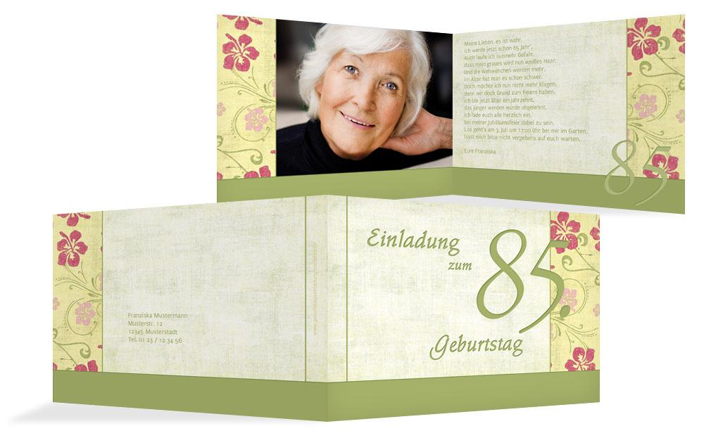 Spruch fur einladung zum 85 geburtstag