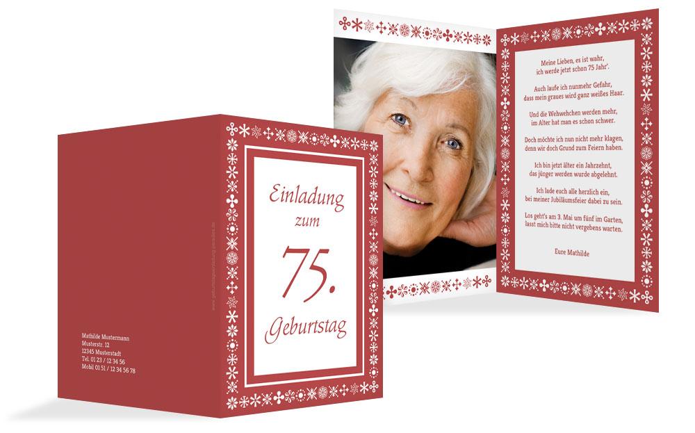 einladung zum 75. geburtstag (einladungskarten drucken), Einladungsentwurf
