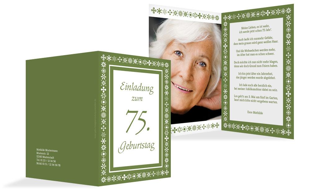 Einladung Zum 75 Geburtstag Einladungskarten Drucken