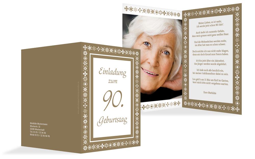 Einladung Zum 90 Geburtstag Individuell Gestalten