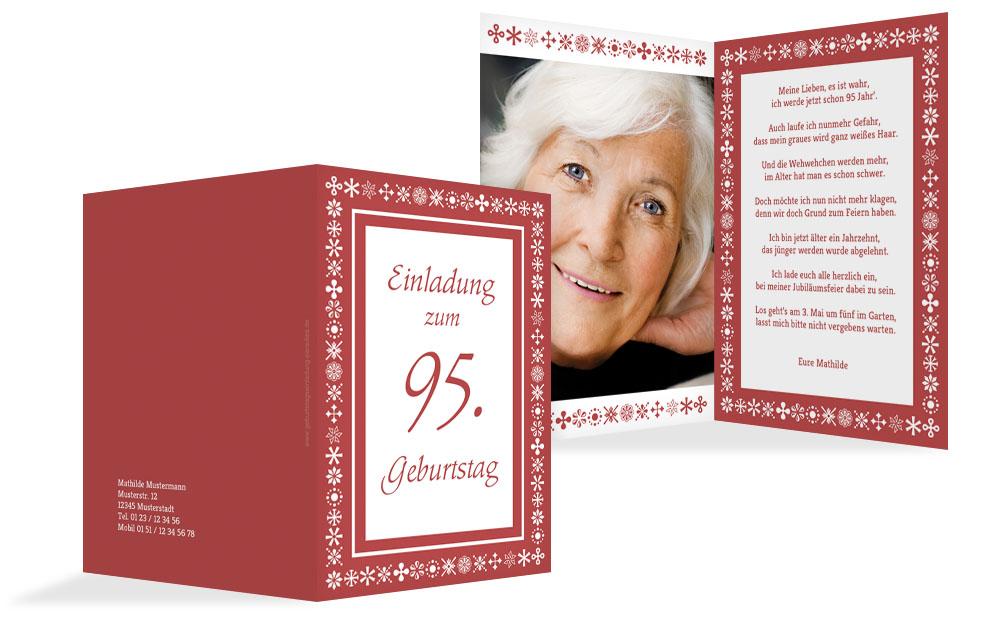 Einladung Zum 95. Geburtstag Individuell Gestalten