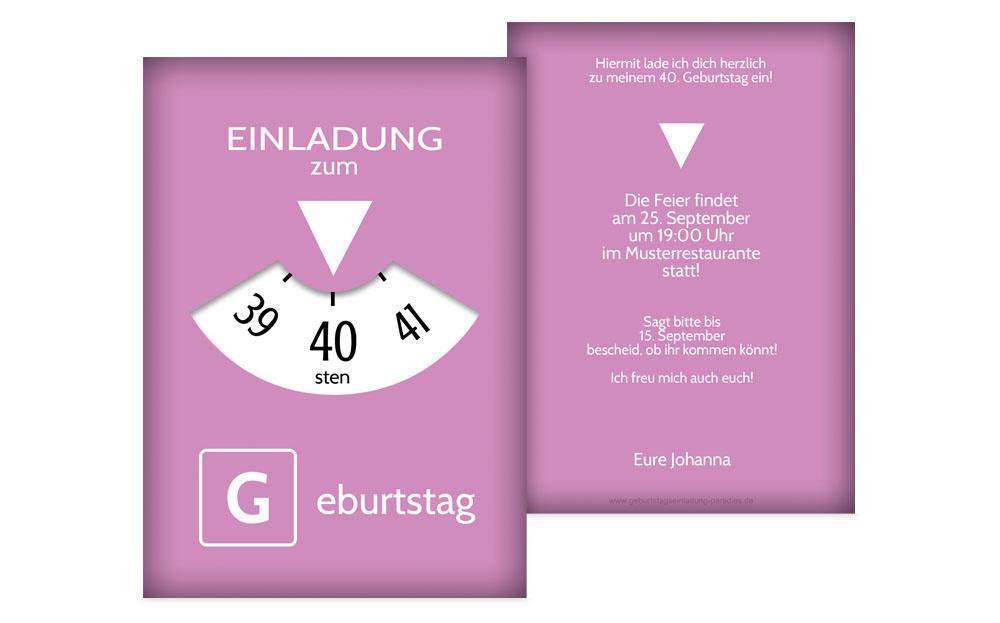 Einzigartig Einladung 40 Geburtstag - kreative Designs drucken TY09