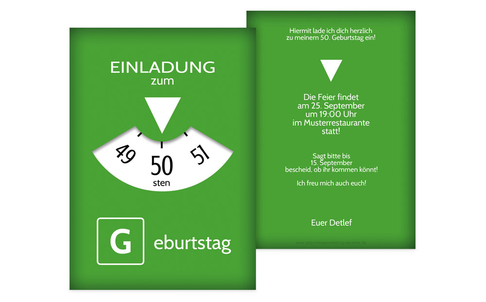 einladungskarten 50 geburtstag - kreative designs drucken, Einladung