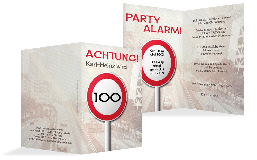 einladungskarten 100. geburtstag (einladung selbst gestalten), Einladung
