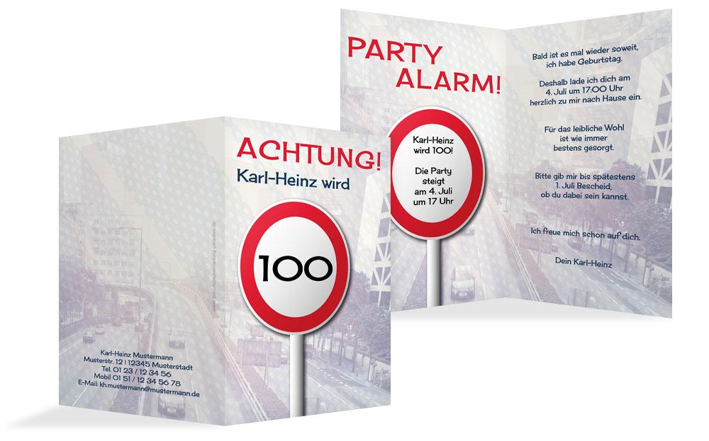einladungskarten 100 geburtstag einladung selbst gestalten. Black Bedroom Furniture Sets. Home Design Ideas