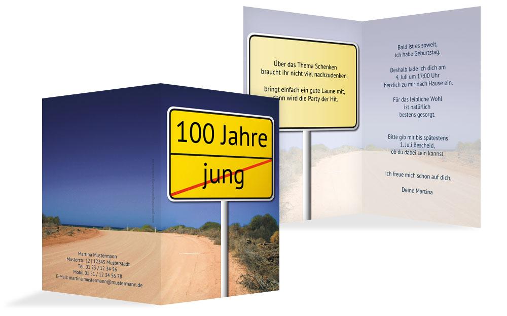 Musterset · Geburtstagseinladung Parkuhr 100 Blau 105x148mm